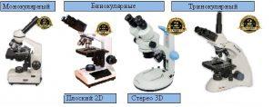 Виды микроскопов: монокулярный; бинокулярные (полcкий 2D и стерео 3D); Тринокулярный.